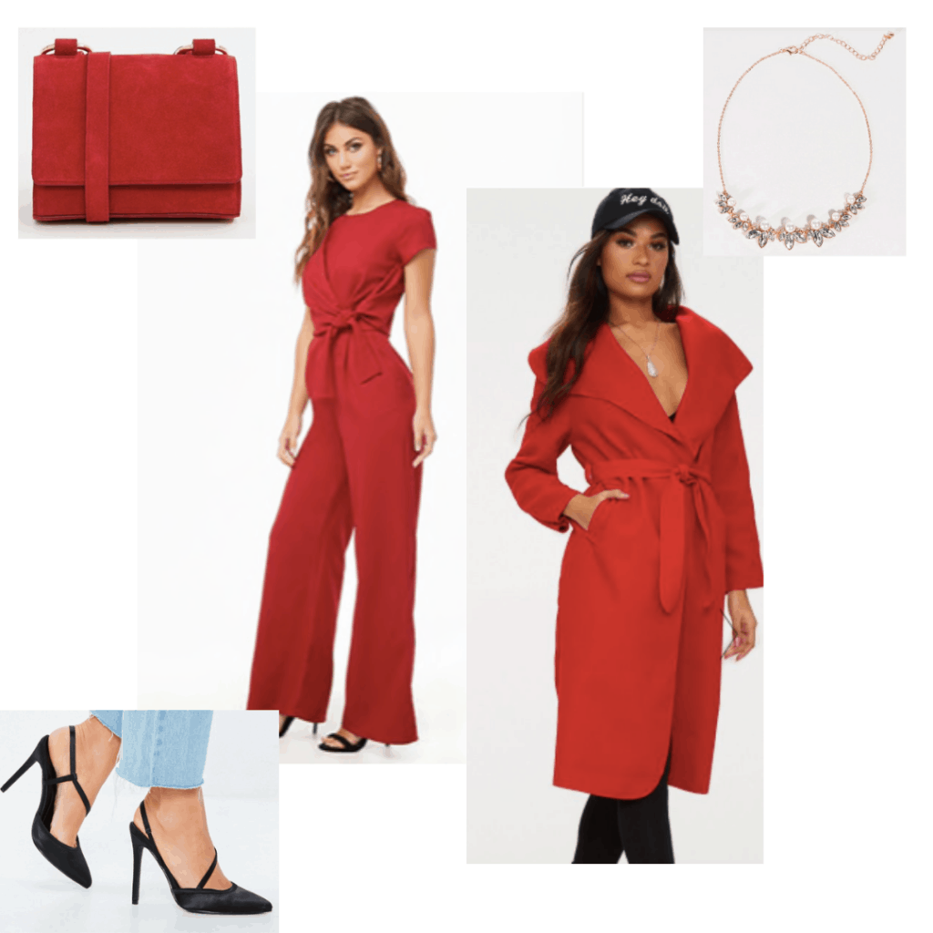 Outfit inspired by Melisandre from Game of Thrones: Red pants, red coat, black heels, red crossbody, gold necklace