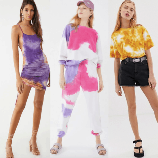 three girls in tie-dye outfits