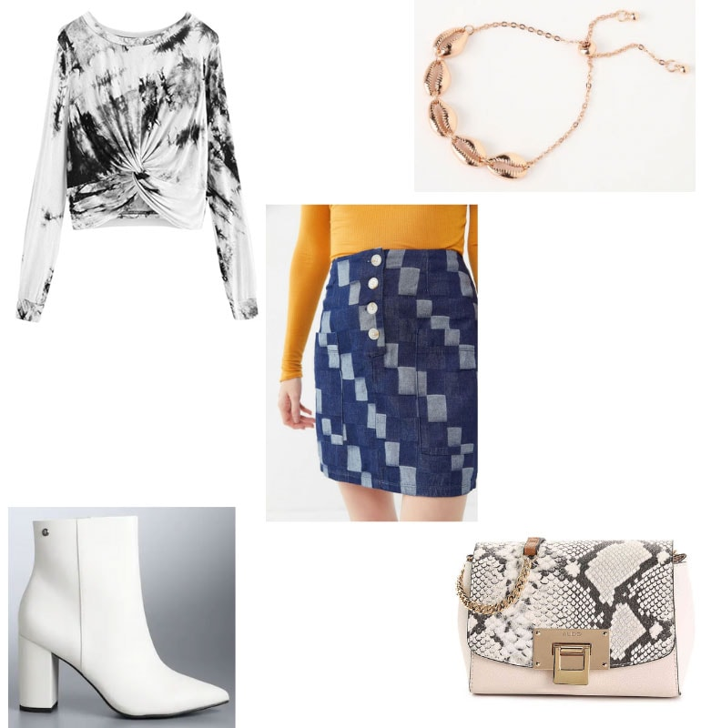 Trendy mini skirt outfit with patchwork skirt, white boots, snakeskin mini bag, shell necklace