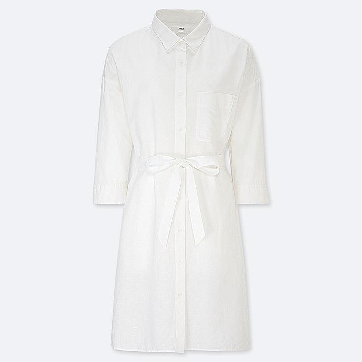 White three-quarter sleeve knee-length shirt dress with collar and self-tie belt at waist