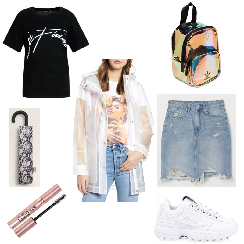 Warm rainy day outfit idea with clear rain coat, graphic tee, ripped denim mini skirt, dad sneakers, mascara, iridescent mini backpack, snake print umbrella