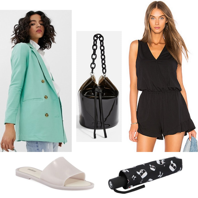 Trendy rainy day outfit with black romper, oversized green blazer, waterproof slides, PU bucket bag, umbrella