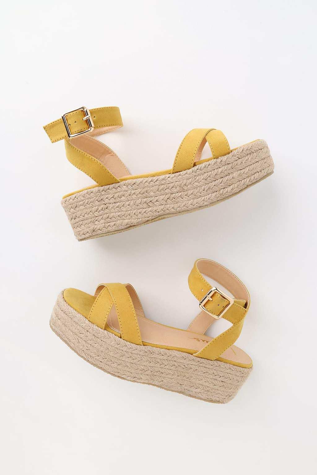 Yellow platform sandals with raffia