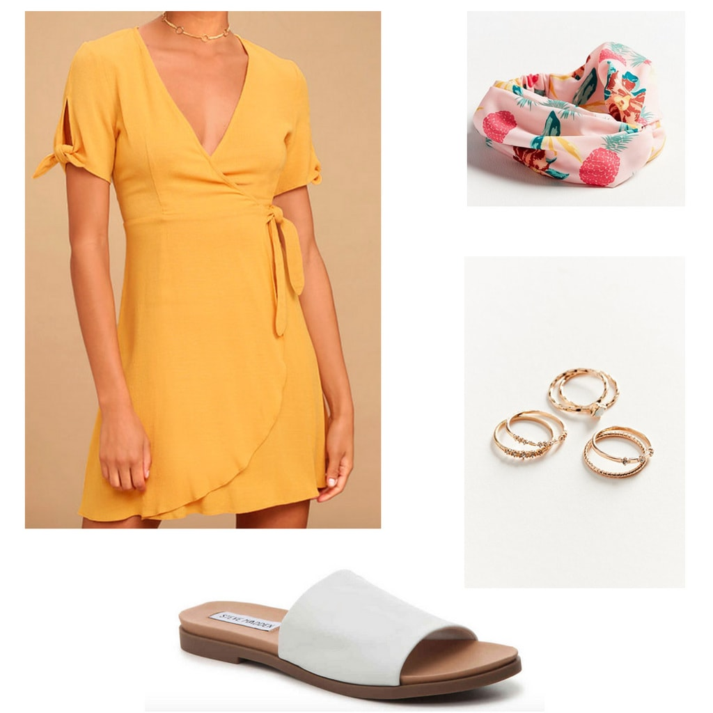 Yellow dress, pineapple print headband, gold rings, and white sandals outfit