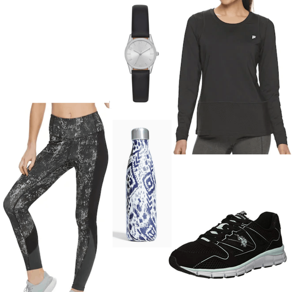 What to wear on a morning jog: Outfit idea with printed leggings, black long sleeve top, black sneakers, water bottle, watch