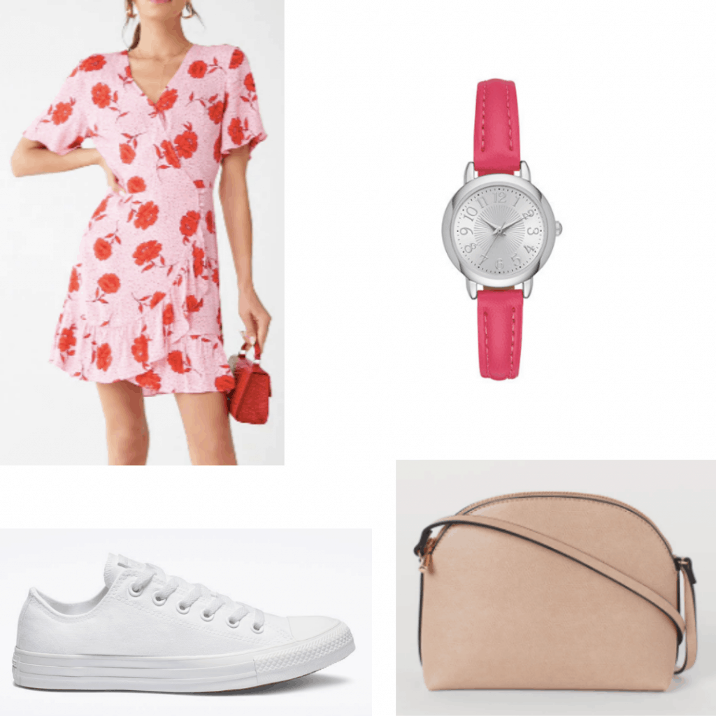 Outfit idea for an outdoor kids party: Floral dress, pink watch, white sneakers, crossbody