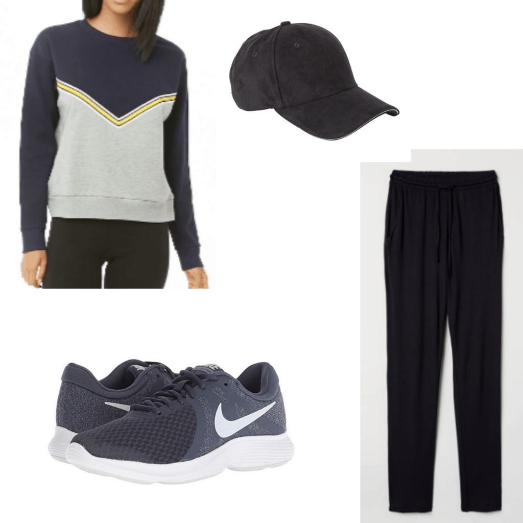 What to wear on a morning jog: Outfit idea with black joggers, black sweatshirt, black sneakers, black hat