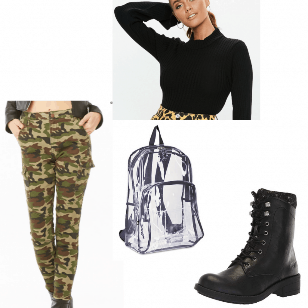 Camo pants outfit for class with black turtleneck sweater, clear backpack, black combat boots