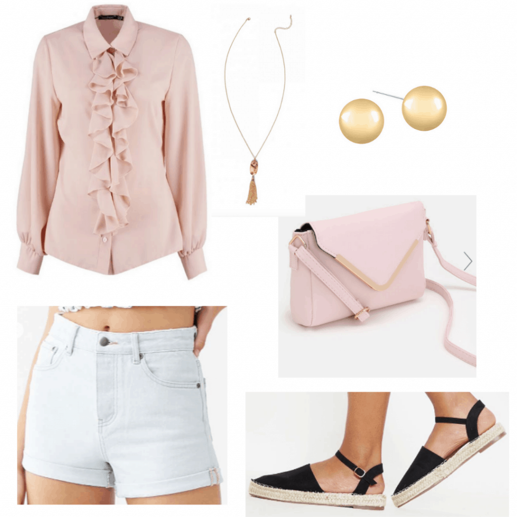 What to wear to an outdoor kids party: Outfit idea with light wash denim shorts, flat espadrilles, pink ruffle blouse, jewelry