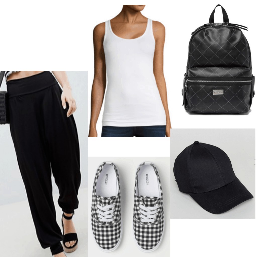 Harem pants outfit for class with black harem pant joggers, white tank, black backpack, checkered sneakers and black baseball cap