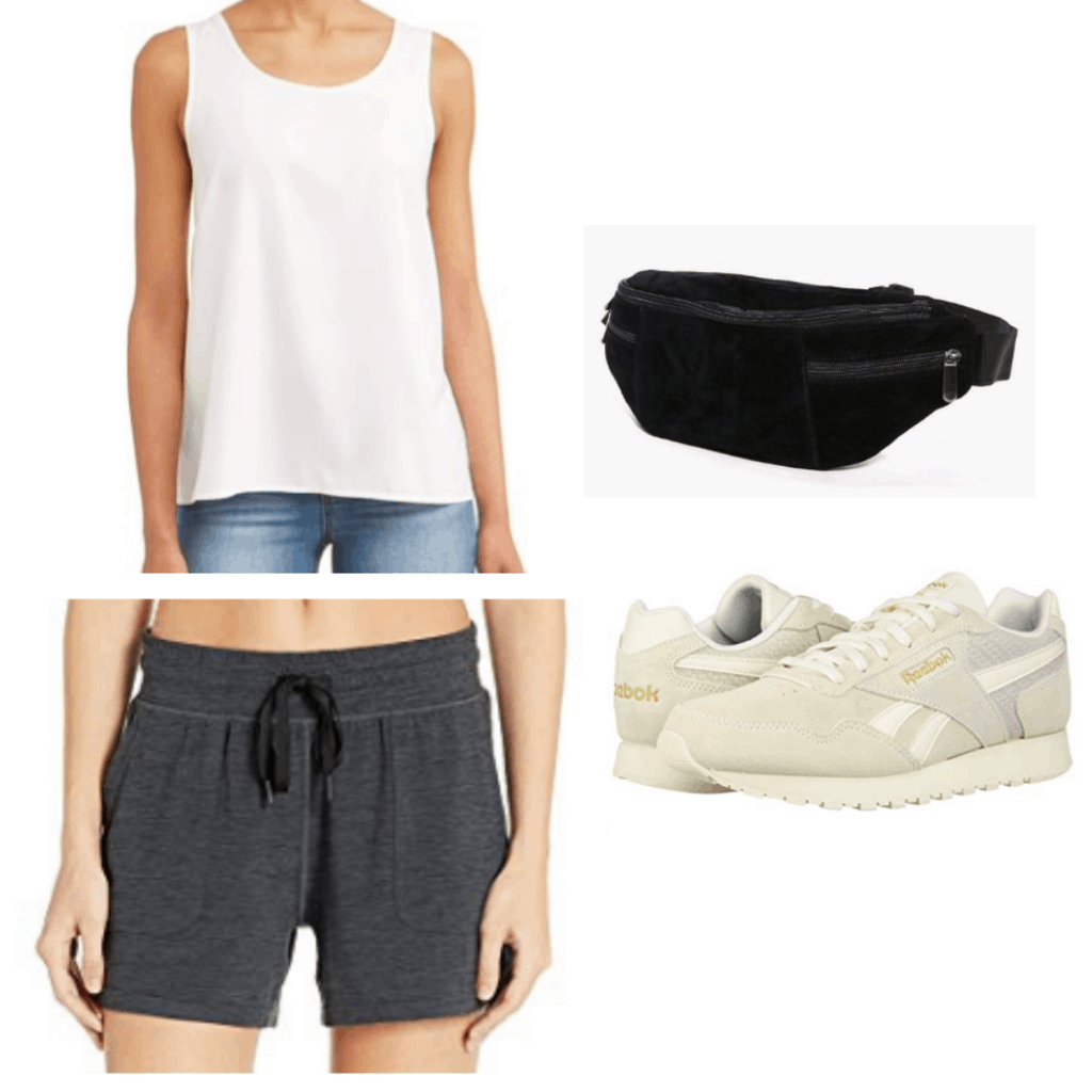 What to wear on a morning jog: Outfit idea with white tank top, black shorts, gray sneakers, black fanny pack