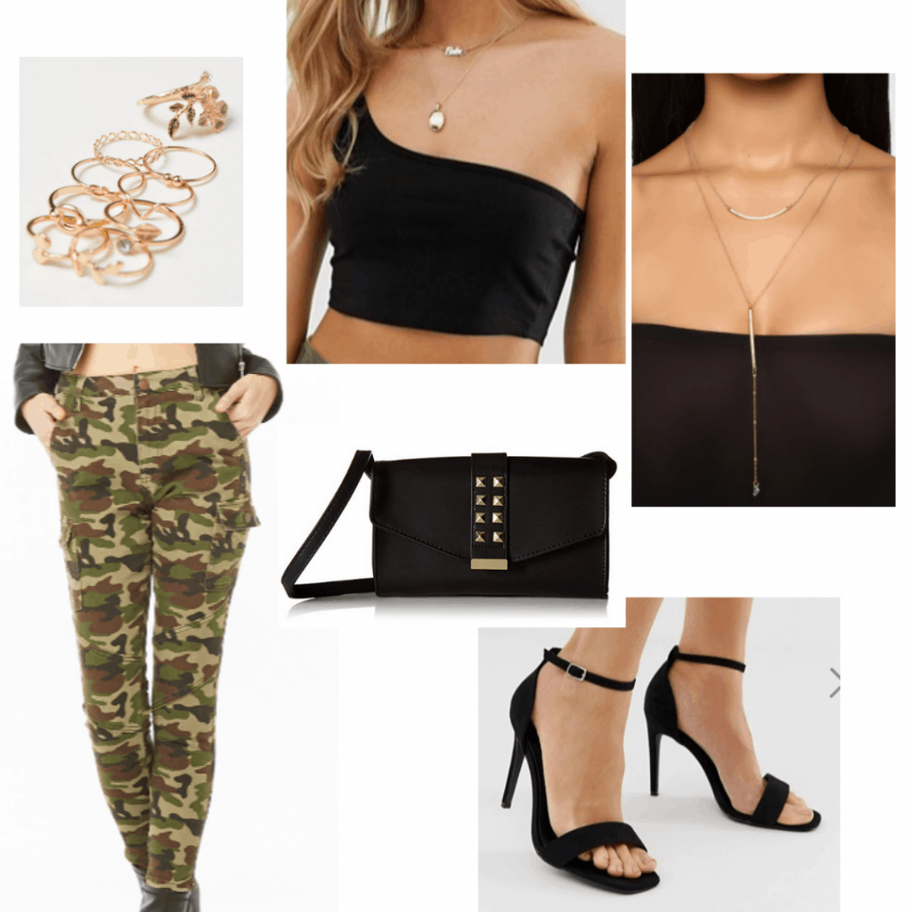 Camo pants outfit for night with black one shoulder crop top, layered necklace, gold rings, simple heels