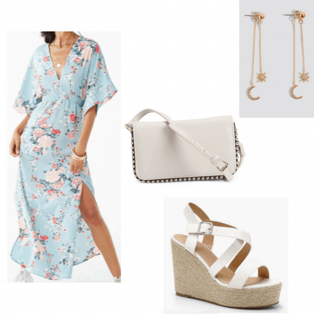 Outfit for a kids party: Maxi dress, espadrilles, dangle earrings, studded crossbody