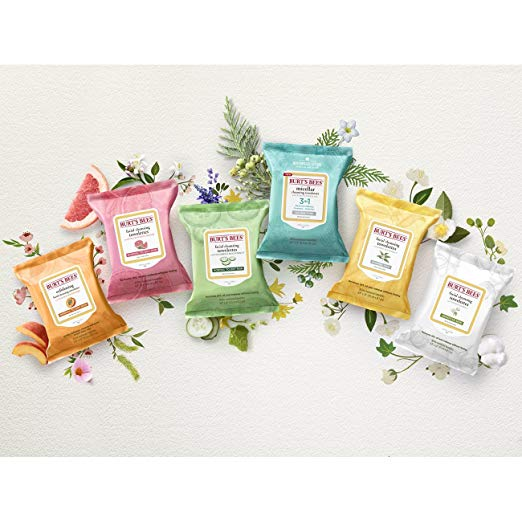 various colors of face wipes from burts bees