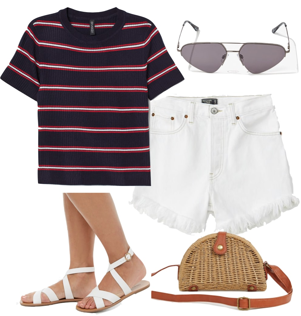 Alessandra Ambrosio Outfit: navy and red striped top, white high rise denim shorts, white crisscross flat sandals, aviator sunglasses, and a straw half moon crossbody bag