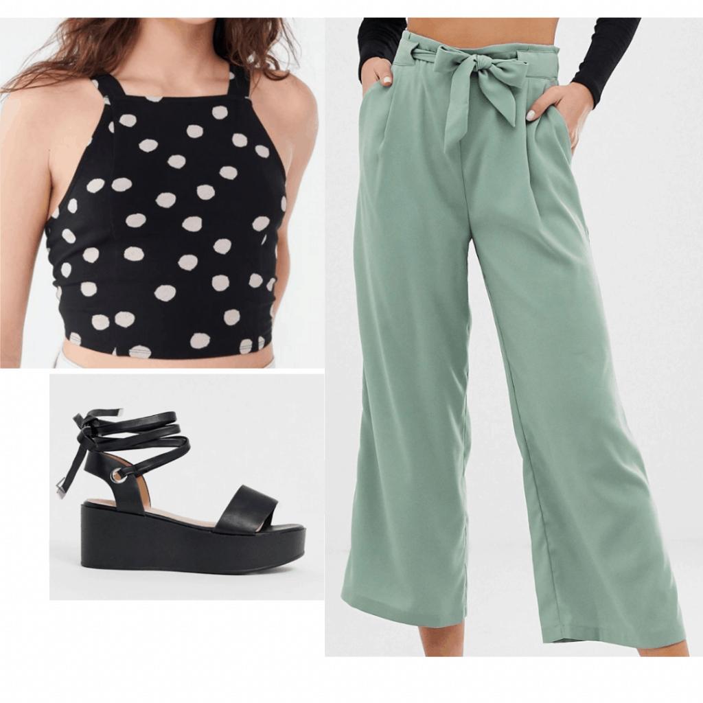 Platform sandals outfit with black platform sandals, mint green pants, polka dot crop top