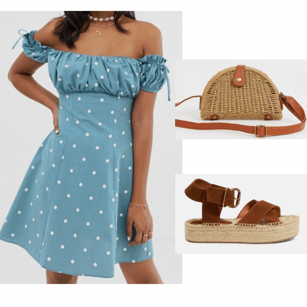 Summer vacation outfit with off the shoulder polka dot dress, flatform espadrilles, woven purse