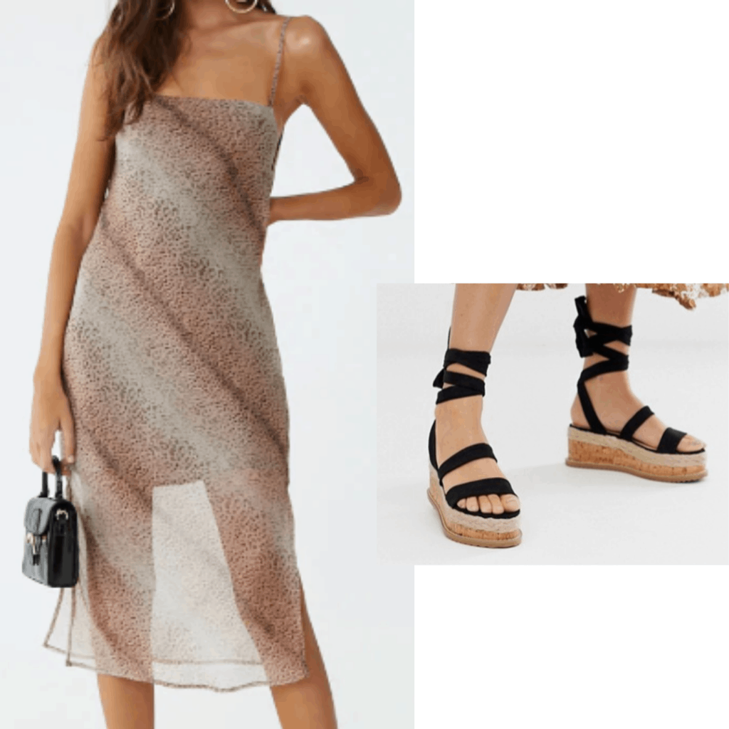 Cheetah dress outfit inspired by the 2019 Met Gala: Cheetah sheer dress and lace up platform sandals