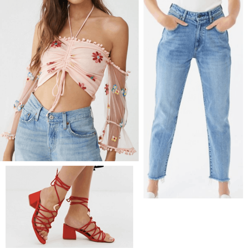 Cute outfit inspired by the 2019 Met Gala: Floral off the shoulder top, high waisted mom jeans, red sandals