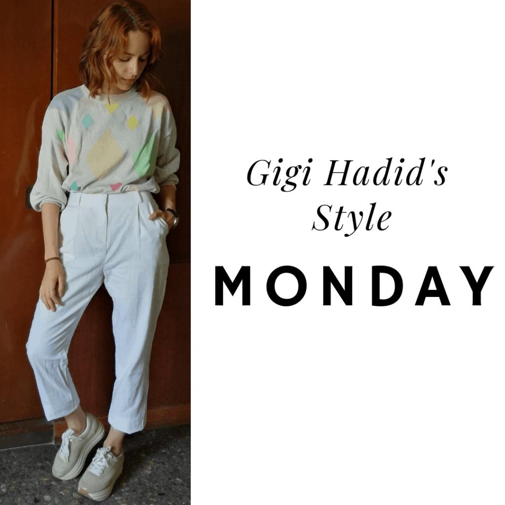 Gigi's Style: Monday white pants, sweater, sneakers