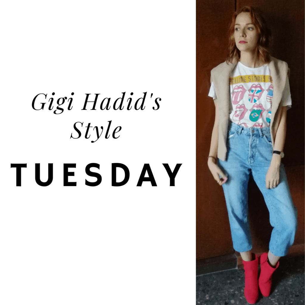 Gigi's style: Tuesday jeans, t shirt, sweater, booties