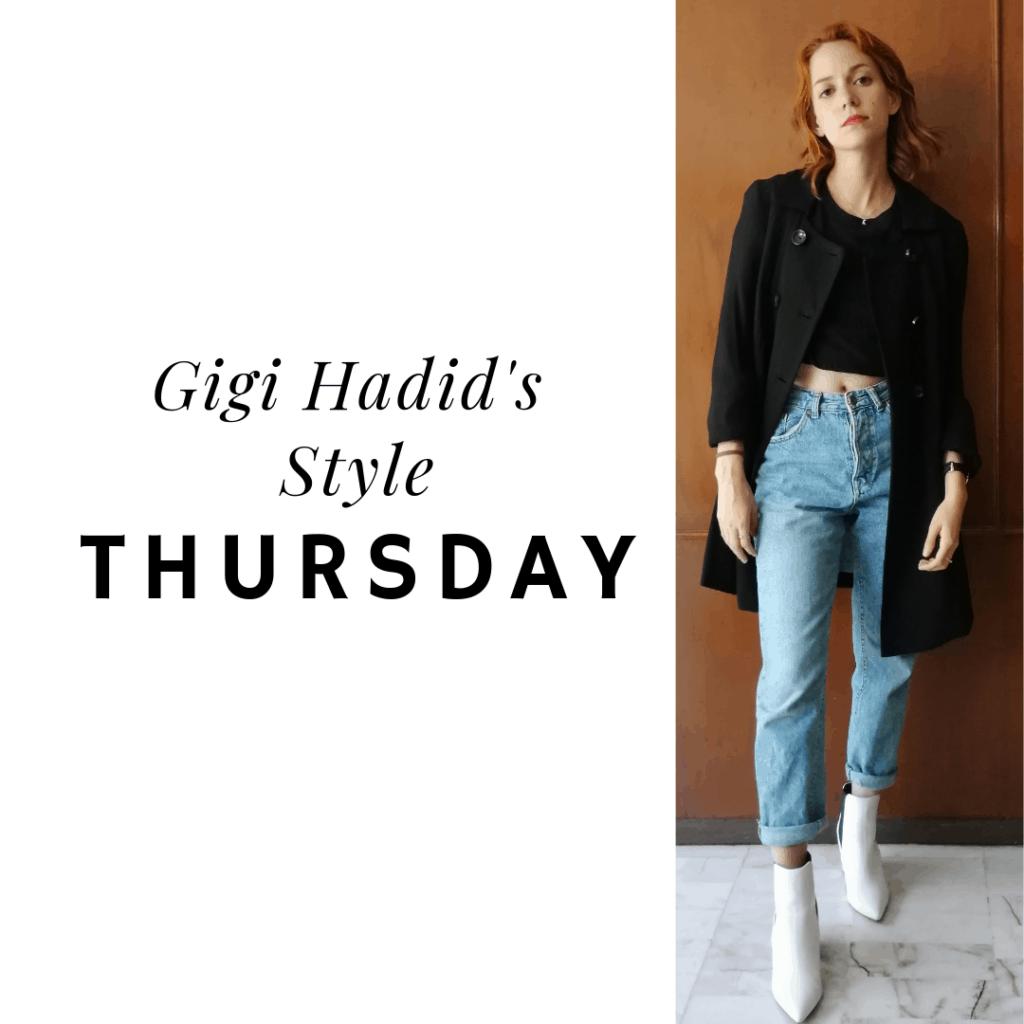 Gigi's style: Thursday jeans, black crop top, coat, booties