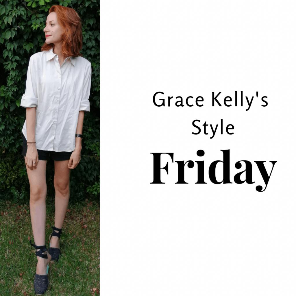 Grace Kelly's Style Friday: white shirt, black shorts and black espadrilles.
