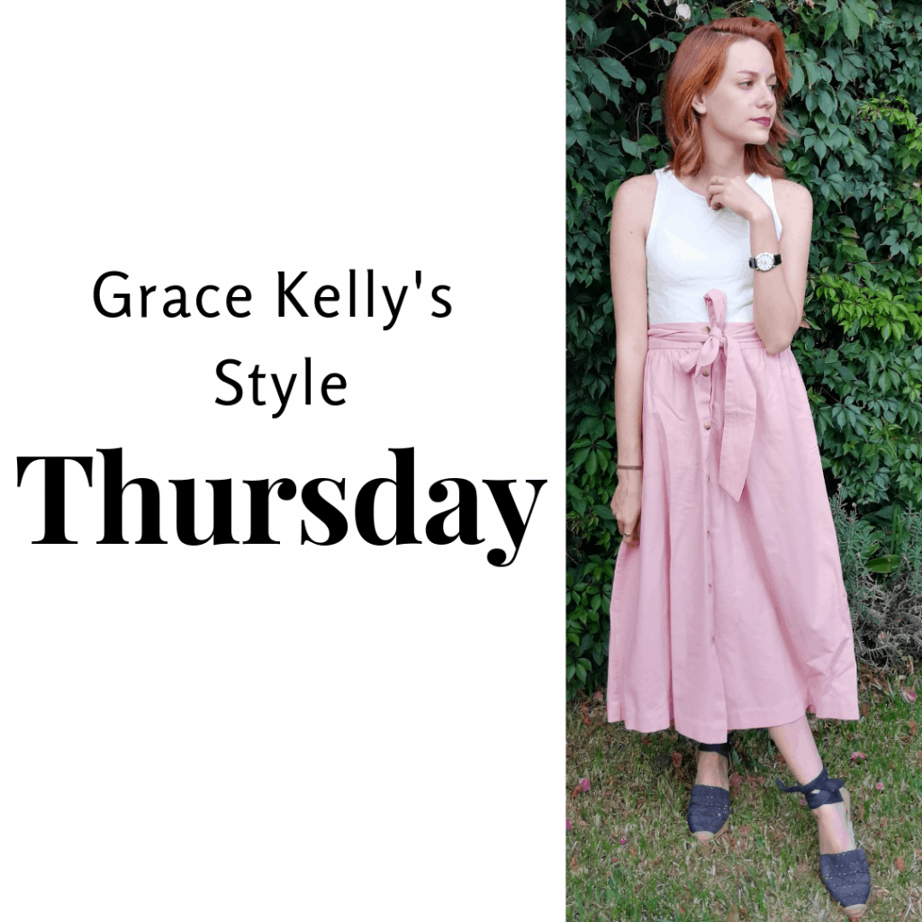 Grace Kelly's Style Thursday: pink skirt, white top and black shoes.