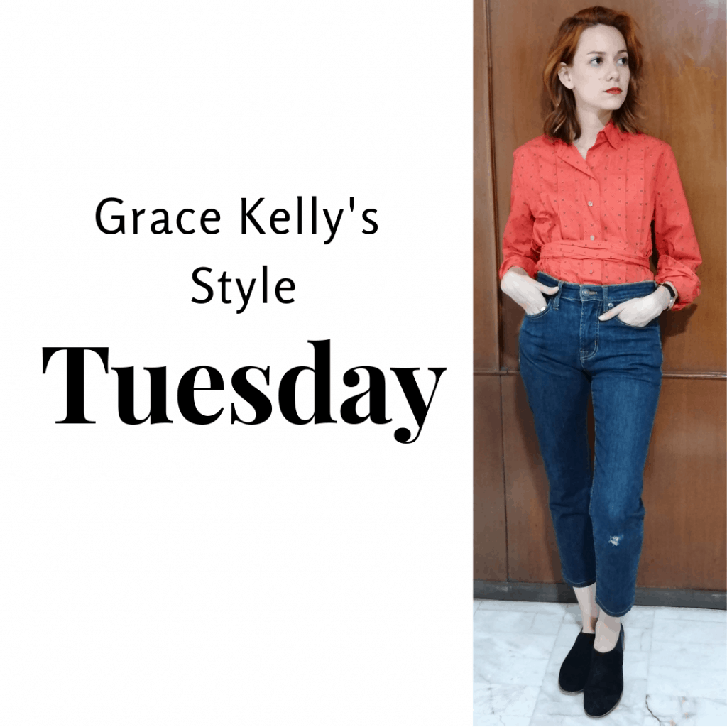Grace Kelly's Style Tuesday: red shirt, jeans, loafers.