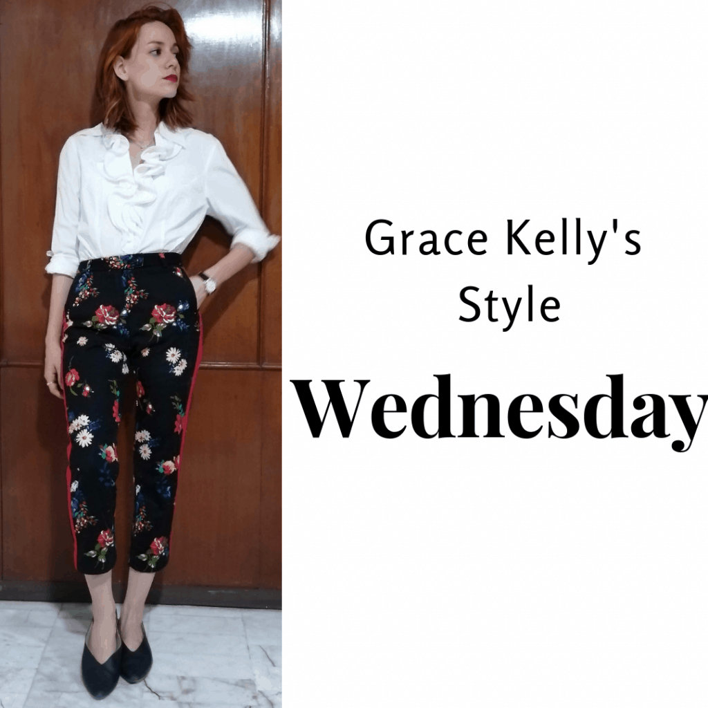 Grace Kelly's Style Wednesday: White shirt, patterned pants and black flats.