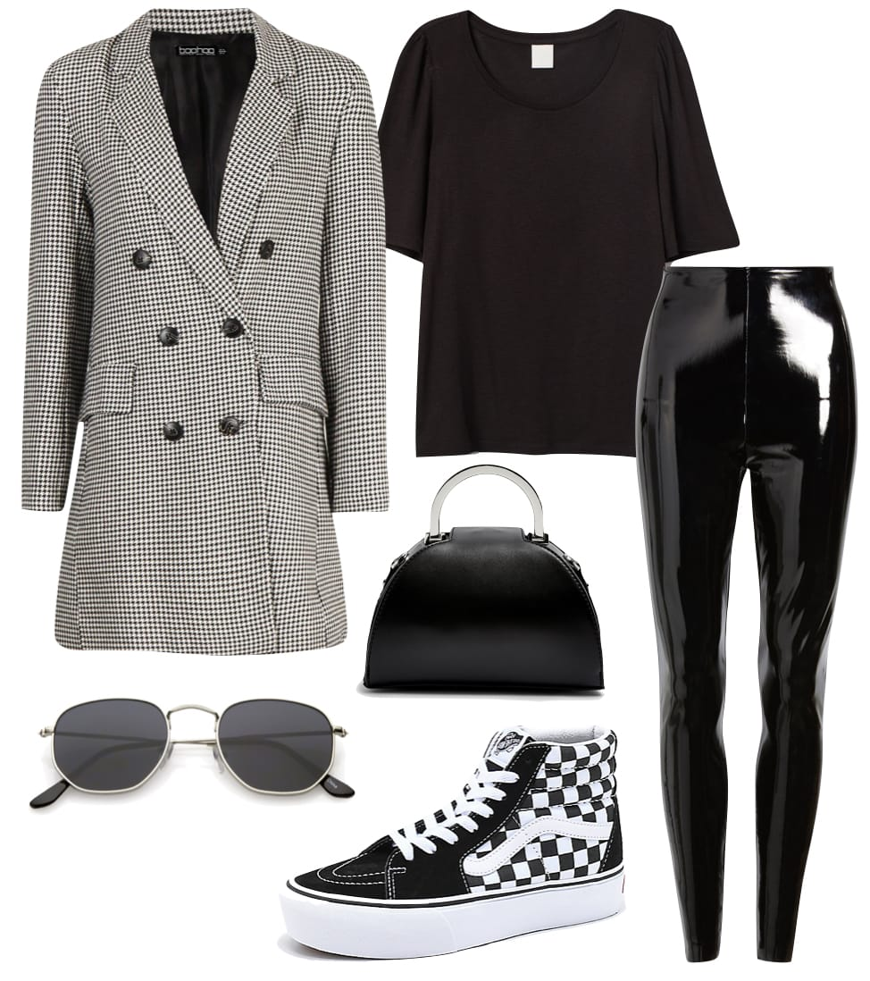 Hailey Bieber Outfit: checked oversized blazer, black t-shirt, faux leather shiny pants, top handle grab bag, silver hexagon sunglasses, and checkered Vans high-top sneakers