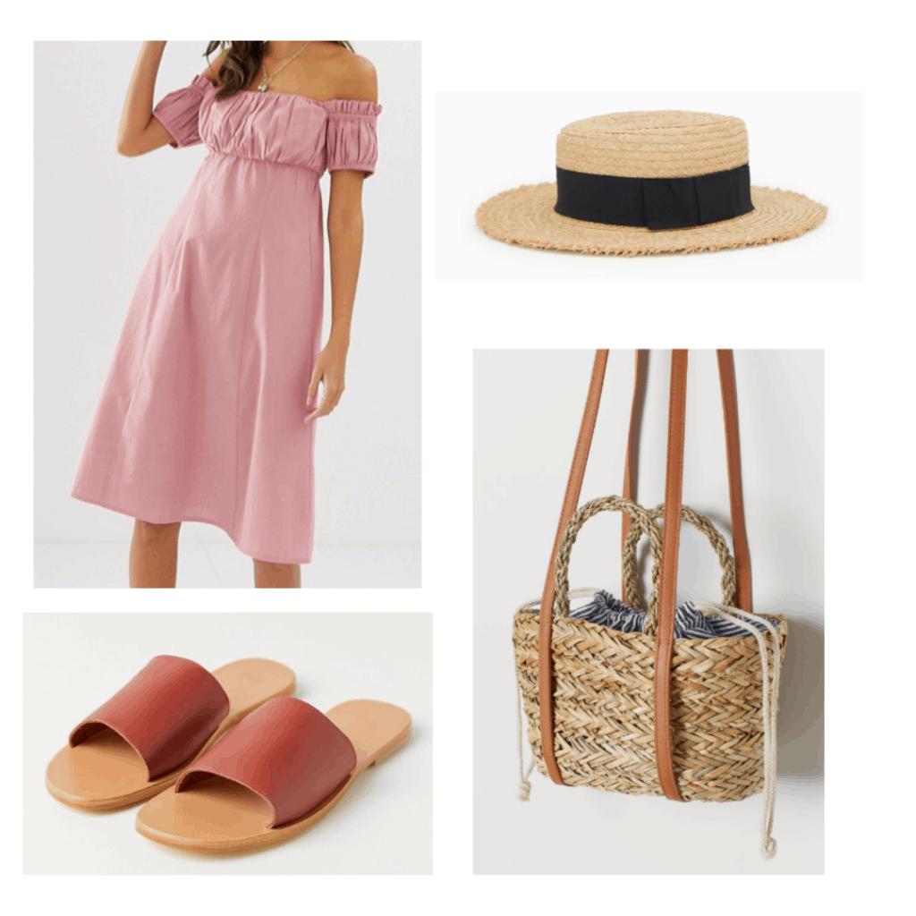 off shoulder pink sundress, straw boater hat, brown slide sandals, fabric straw tote crossbody bag