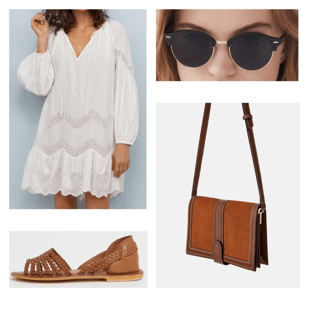 white cotton dress, sunglasses, brown crossbody bag, brown huarache sandals