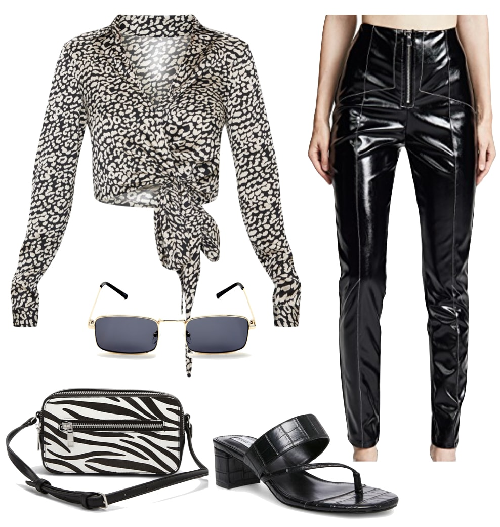 Kendall Jenner Outfit: black zipper contrast seam faux leather pants, black and white animal print top, rectangle sunglasses, zebra print crossbody bag, and black strappy sandals