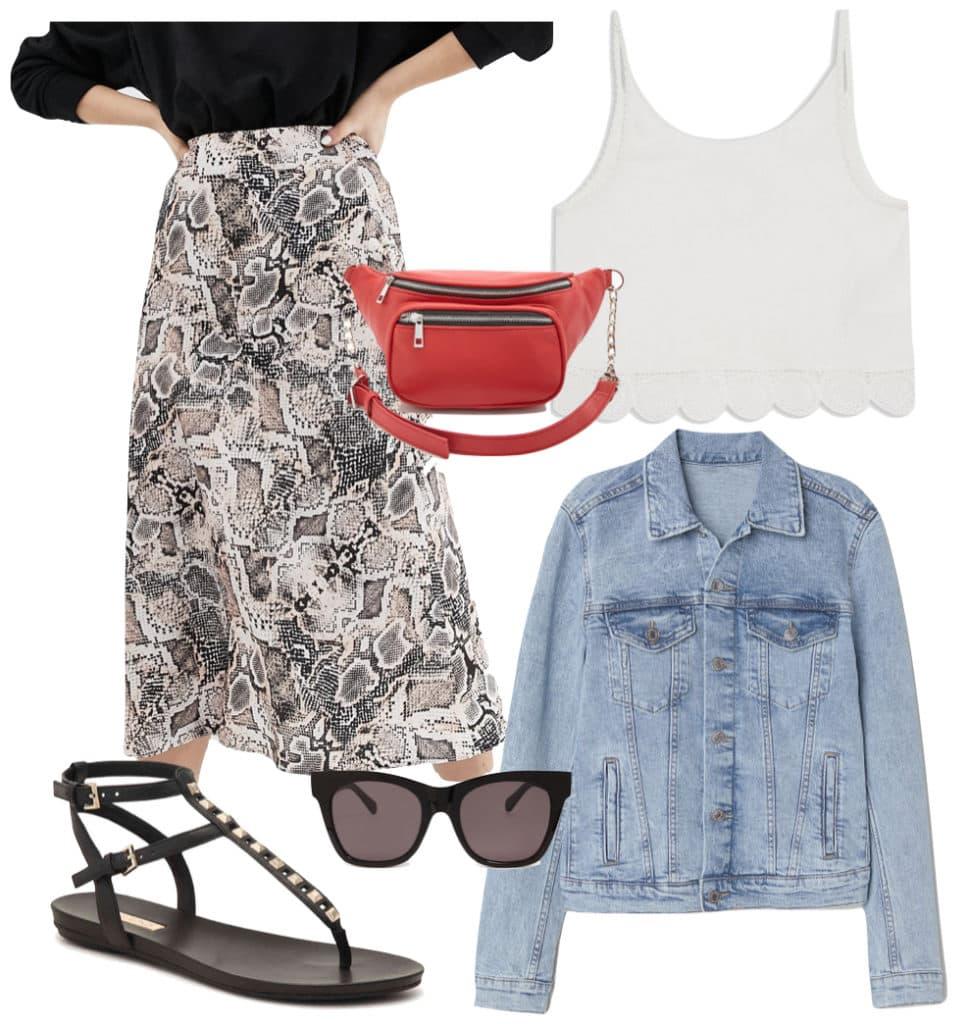 Lily Collins Outfit: snake print midi skirt, white embroidered hem tank top, light wash denim jacket, red belt bag, dark sunglasses, and black and gold studded flat sandals