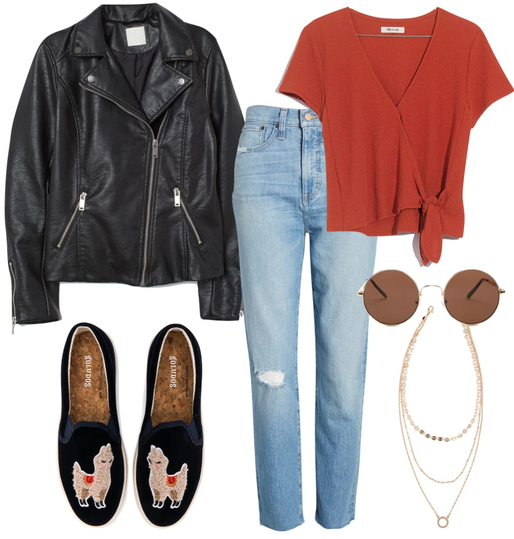 Lucy Hale Outfit: black faux leather moto jacket, red wrap tie top, straight leg jeans, round sunglasses, gold layered necklace set, and llama slip on sneakers