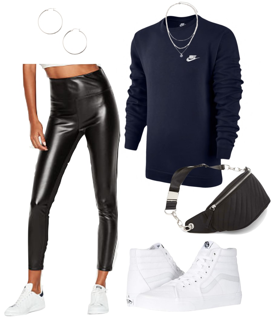 Madison Beer Outfit: faux leather leggings: navy Nike crewneck sweatshirt, silver hoop earrings, silver layered necklaces, black and silver chain belt bag, and white high top sneakers