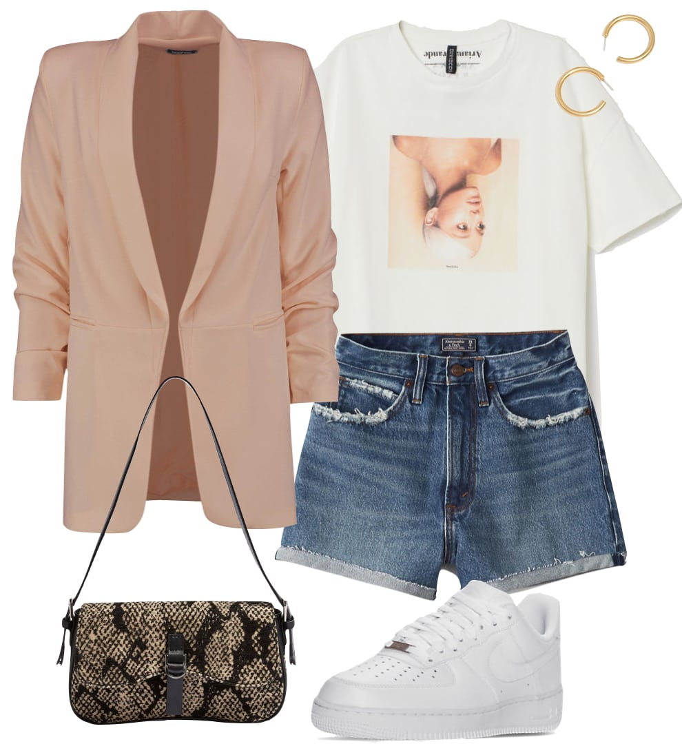 Madison Beer Outfit: beige oversized blazer, Ariana Grande printed t-shirt, high rise denim shorts, chunky gold hoop earrings, white Nike Air Force 1 low top sneakers, and printed shoulder bag