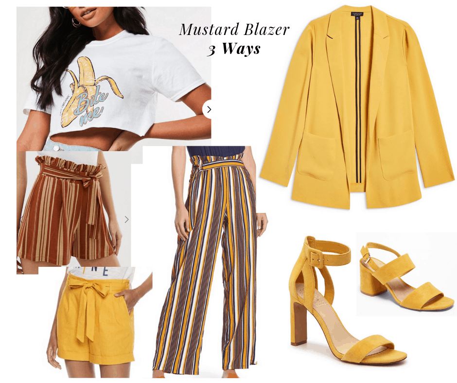 outfit panel with mustard blazer, white tee, 2 shorts, one pant, and two heels