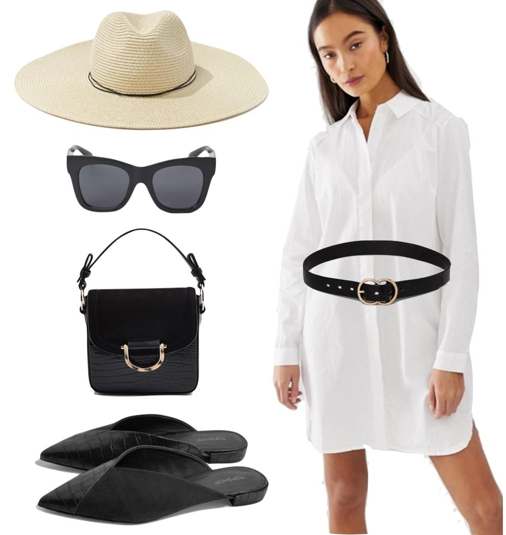 Nina Dobrev Outfit: white shirt dress, black and gold belt, straw hat, square black sunglasses, black top handle bag, and black shiny crocodile print mules