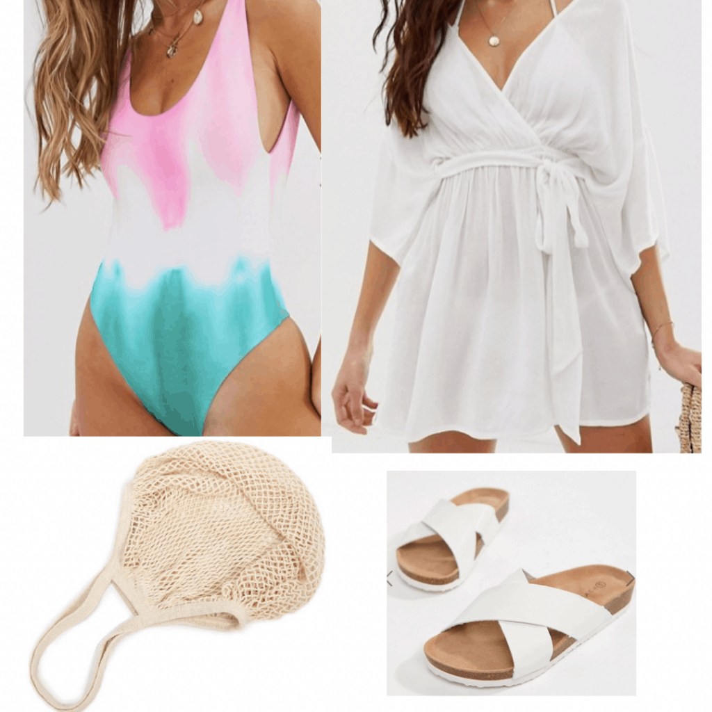 Summer vacation outfit with tie dye swimsuit, white swimsuit cover up, woven bag, white sandals
