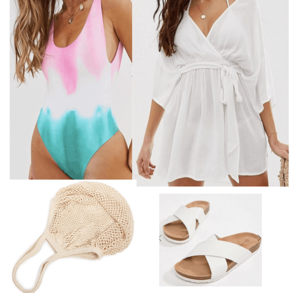 Tie-dye bikini outfit for a perfect vacation look.