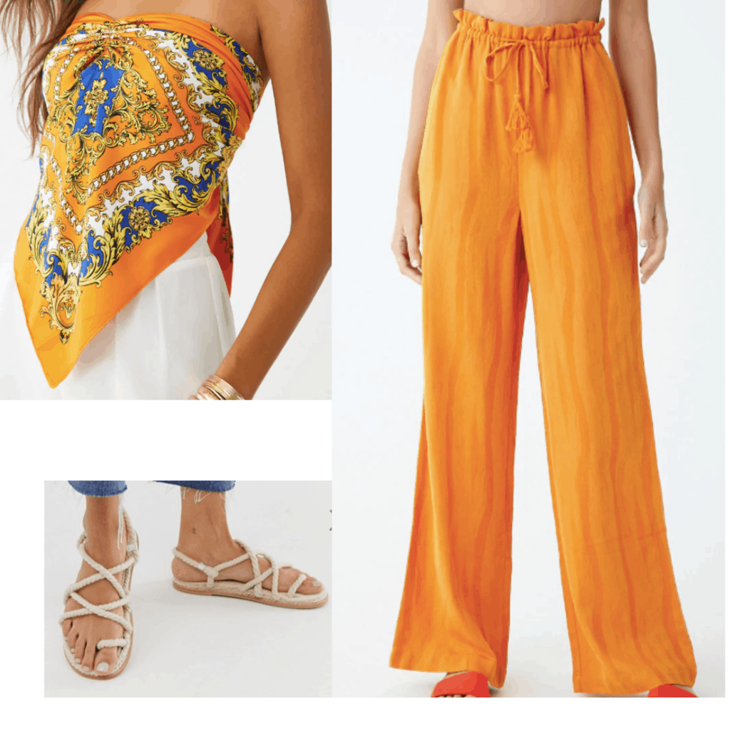 Orange outfit inspired by Kendall Jenner at the Met Gala: Orange bandana top, wide leg pants, beige sandals