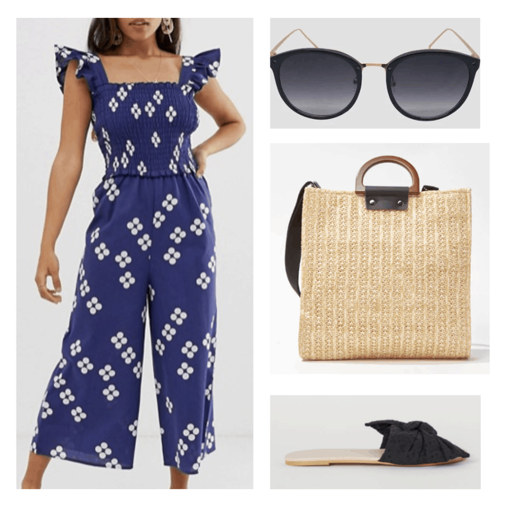 purple and white floral jumpsuit, black sunglasses, straw tote with strap, black sandals