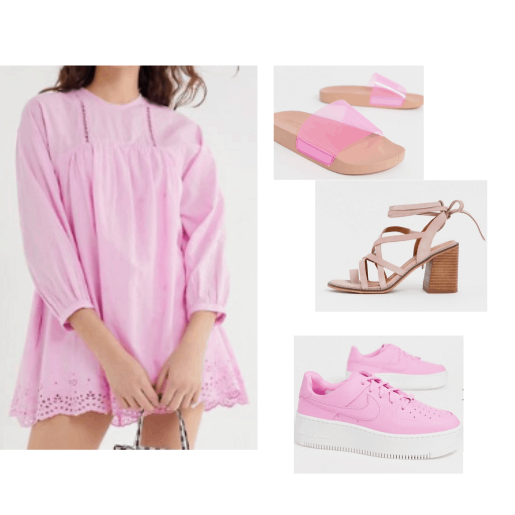 All pink outfit inspired by Naomi Campbell at the 2019 Met Gala: Pink babydoll dress, pink sneakers, sandals and heels
