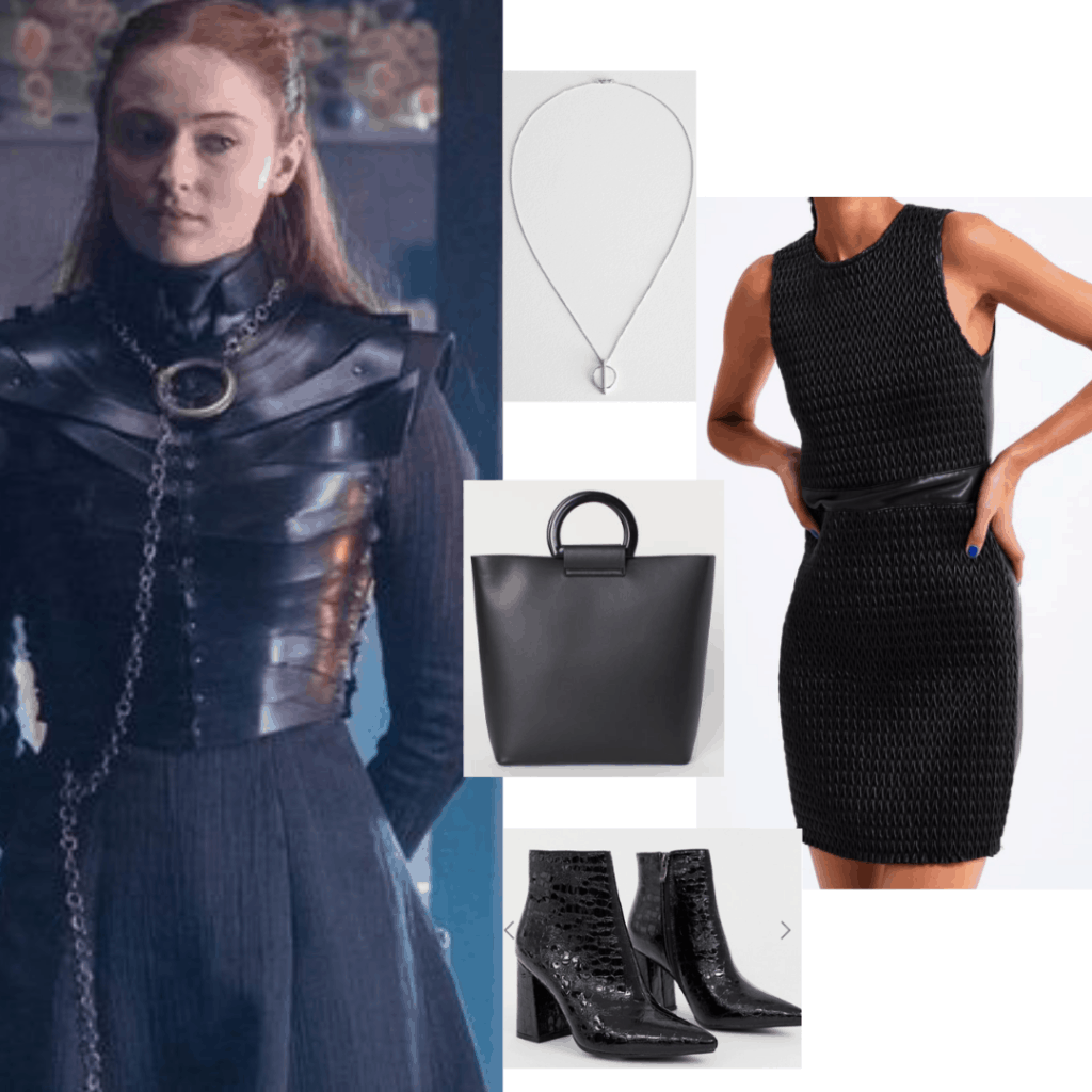 Outfit inspired by Sansa Stark with black dress, black bag, pointed toe boots, silver necklace