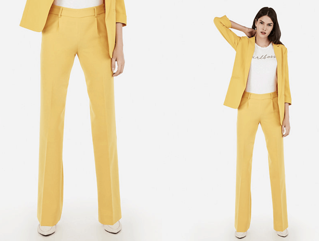 model wearing yellow wide leg pants and blazer with white tee shirt