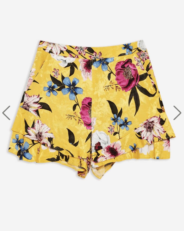 yellow floral print shorts