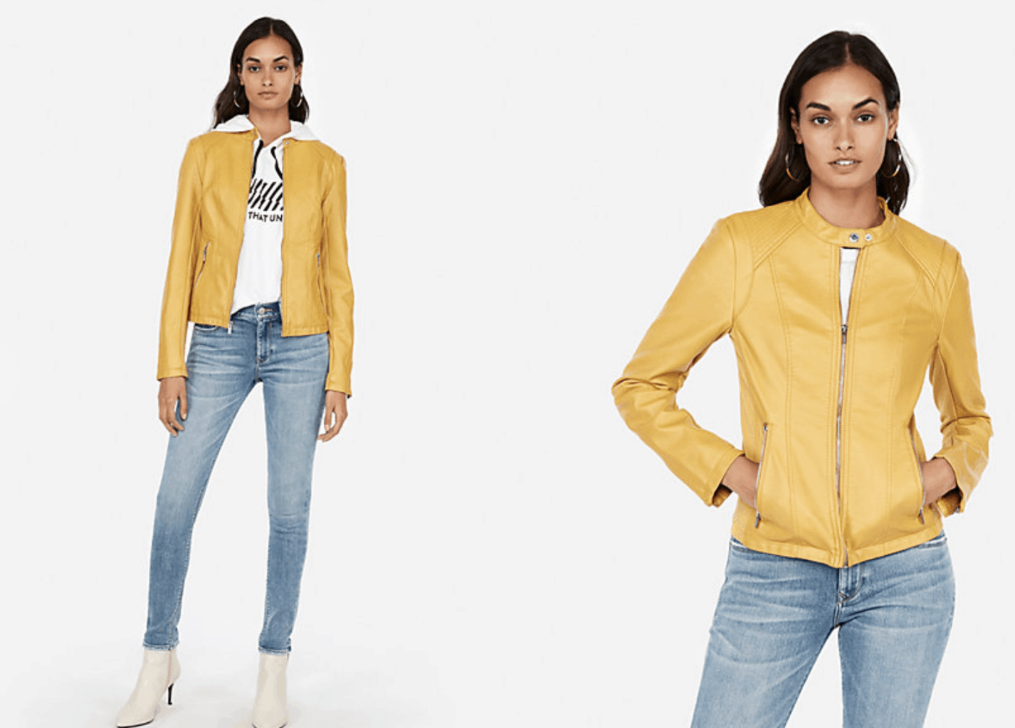 model in yellow leather jacket and jeans