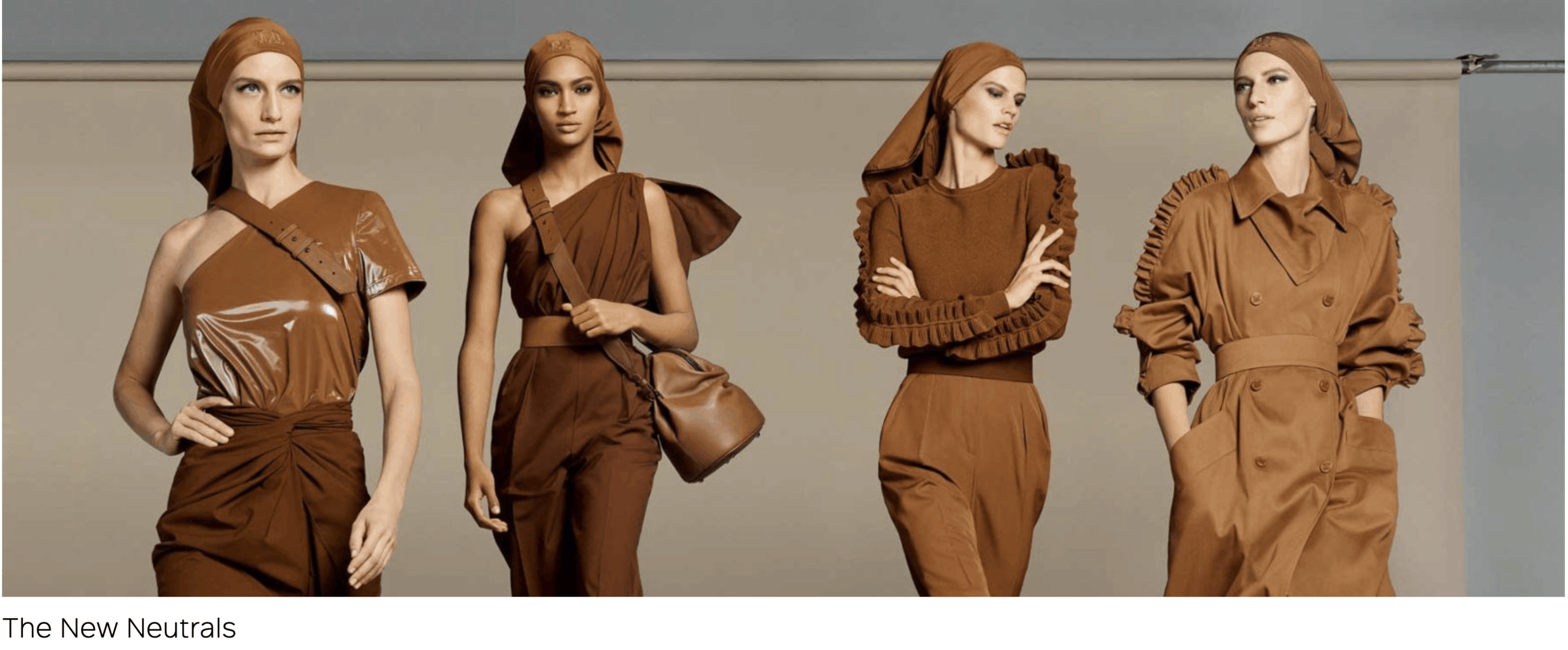 models in matching brown outfits